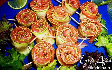 Рецепт Роллы из кабачков и малосольной семги