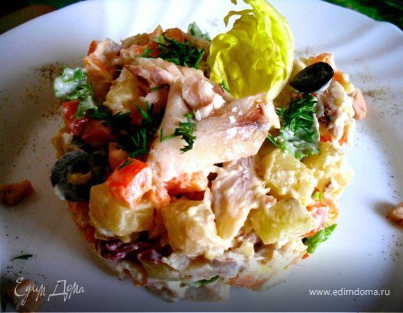 Салат с копчёной рыбой