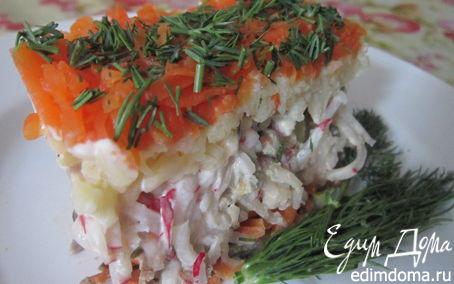 Рецепт Слоеный салат из печени