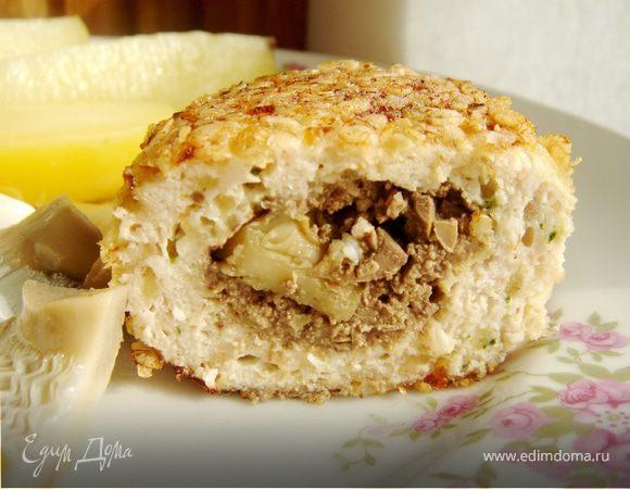 Куриные зразы с печенью и солёными груздями