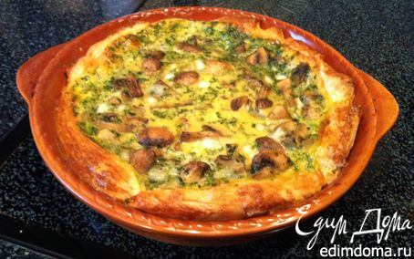 Рецепт Открытый пирог с грибами и шпинатом