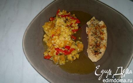 Рецепт Запеченная грудка индейки с паприкой и травами, и чечевица со сладкими овощами и чесноком