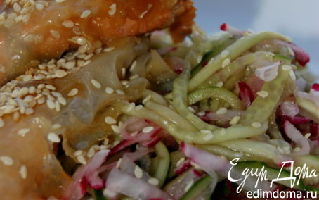 Рецепт Форель в рисовой бумаге с овощами по-китайски