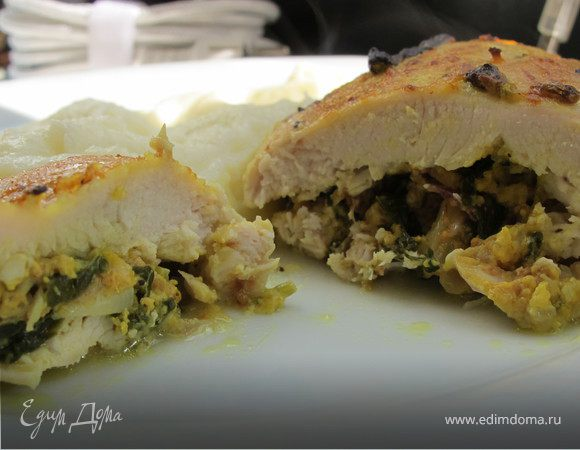 Куриное филе с творогом, шпинатом и карри