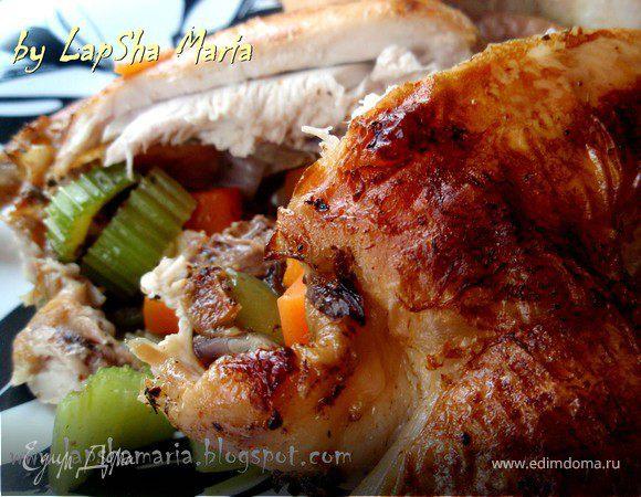 Цыплята, запеченные с овощами и травами