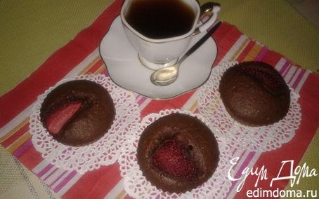 Рецепт Кофейные кексики c орехами и клубникой