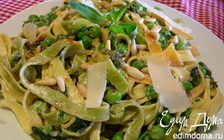 Рецепт Паста с ароматными травами, зеленым горошком,маскарпоне и кедровыми орешками
