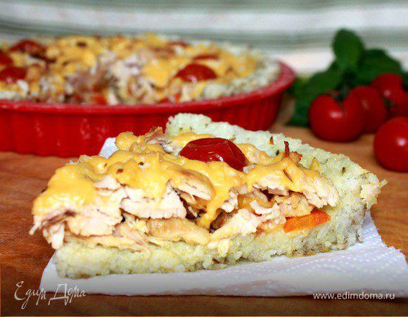 Рисовый пирог с куриной начинкой