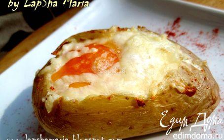 Рецепт Картофель, запеченный с говядиной, сыром и яйцом