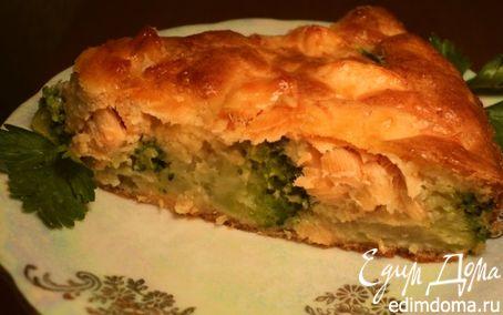 Рецепт Пирог с семгой и брокколи