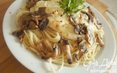 """Рецепт Спагетти с грибами и соусом """"Бешамель"""""""