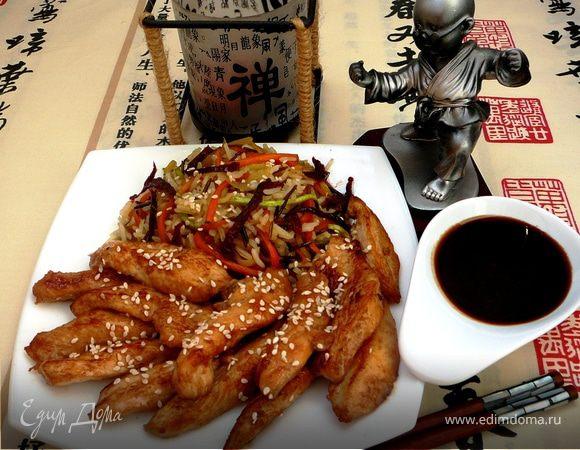 Курица Якинику с рисом и овощами