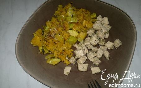 Рецепт Рис с куркумой, паприкой и овощами и грудка индейки с хмели-сунели