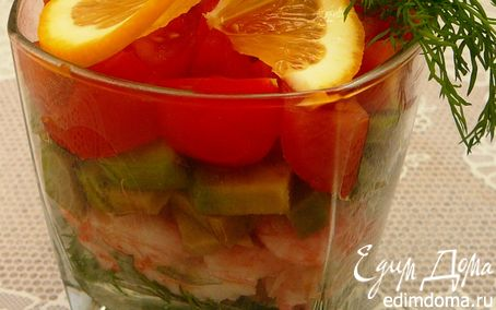 Рецепт Веррин с креветками, авокадо и помидорами