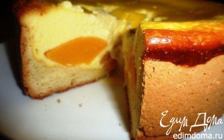 Рецепт Творожно-песочный пирог с персиками