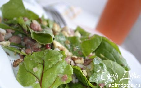 Рецепт Салат из свежих листьев мангольда и шпината с фасолью