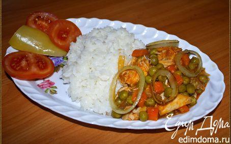 Рецепт Курица с рисом и зеленым горошком