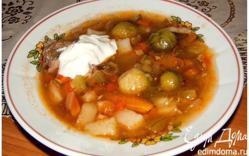 Рецепт Суп с огурцами и брюссельской капустой