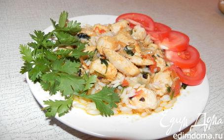 Рецепт Курица, тушеная с рисом и овощами
