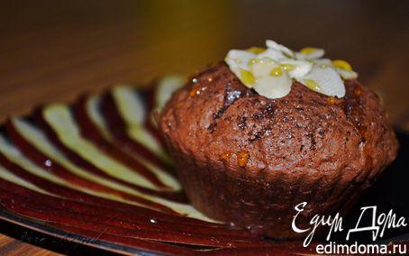 Рецепт Шоколадные маффины с грецкими орехами и карпаччо из красной груши