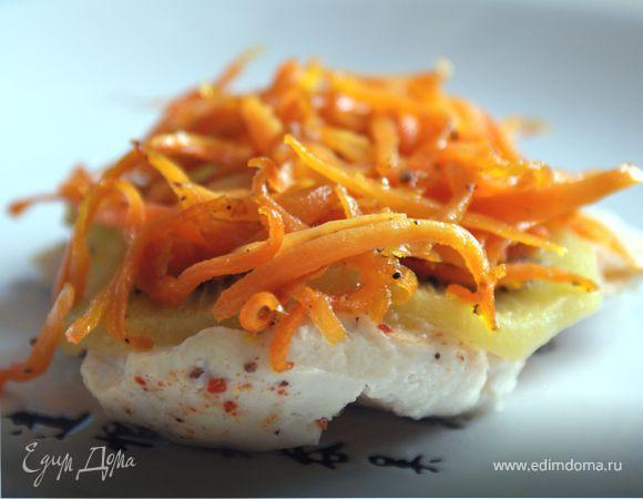 Куриное филе c киви под карамелизированной морковью