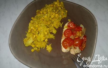 Рецепт Запеченная куриная грудка и бедро индейки с кукурузным рисом