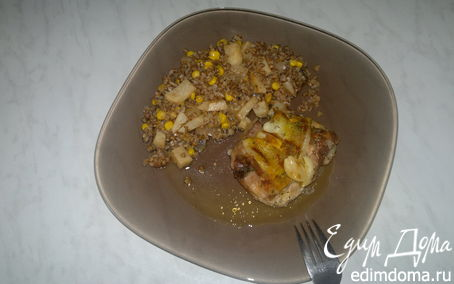 Рецепт Бедро индейки из духовки и гречка с сельдереем и кукурузой