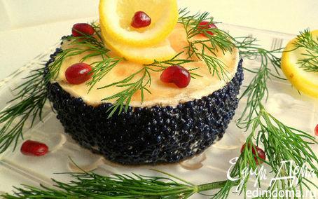 Рецепт Мини-тортики из лимонныx блинов, зернистого творога и черной икры