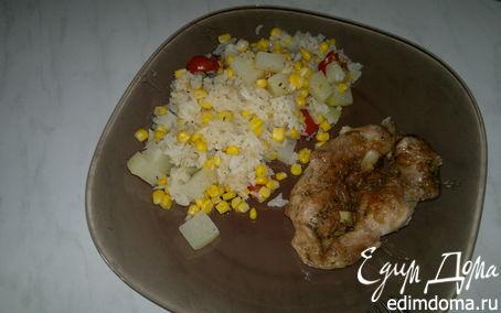 Рецепт Рисовое рагу с овощами и запеченное бедро индейки в панировке из ржаной муки