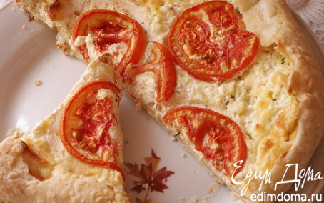 Рецепт Открытый пирог с творогом и сыром