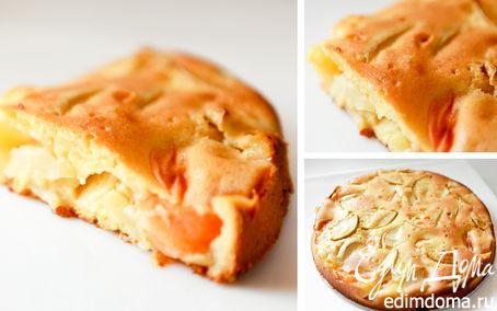 Рецепт Йогуртовый пирог с абрикосами и яблоками