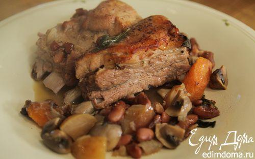 Рецепт Свиные ребрышки с грибами и красной фасолью