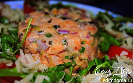 """Рецепт Тартар из лосося c салатом """"Рукола-помидоры"""""""