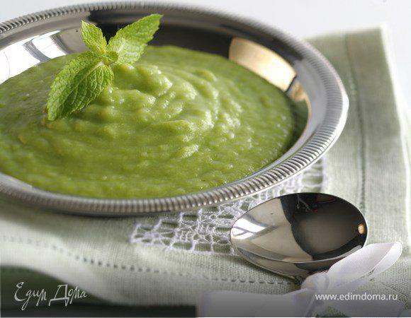 Суп из цукини и зеленого горошка