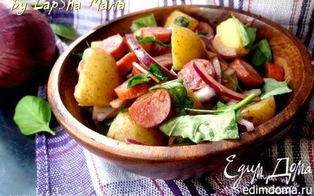 Рецепт Картофельный салат с колбасками и красным луком