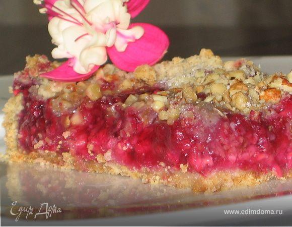 Малиново-ореховый пирог