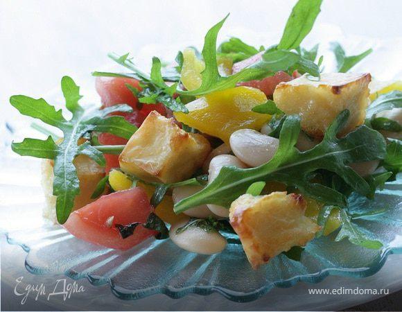 Салат с козьим сыром, фасолью и сладким перцем