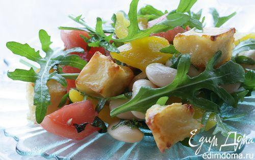 Рецепт Салат с козьим сыром, фасолью и сладким перцем