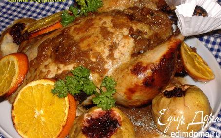 Рецепт Курица в горчично-медовой глазури, с яблоками и апельсинами