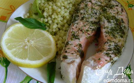 Рецепт Запеченный лосось с травами и кускусом