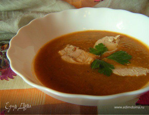 Суп-пюре из печеных овощей с курицей