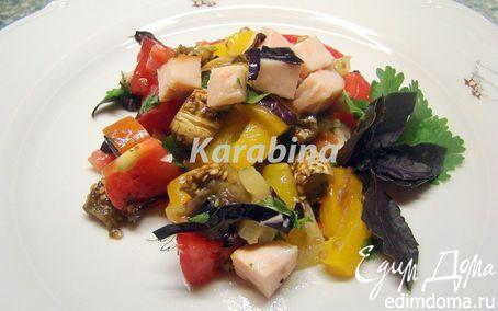 Рецепт Салат с запеченными баклажанами и перцами