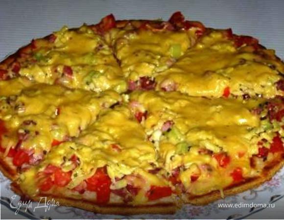 пицца с сыром и помидорами на сковороде рецепт