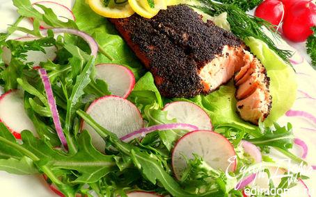 Рецепт Семга в маковой шубке с салатом из руколы и редиса