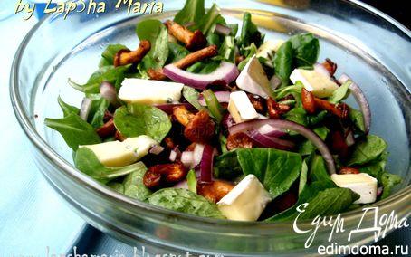 Рецепт Теплый салат с лисичками и сыром Бавария Блю