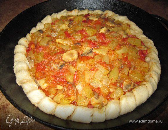 Веганская пицца с кабачками