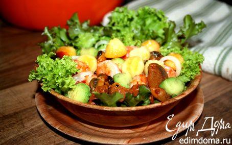 Рецепт Фруктовый салат с копчеными мидиями и креветками