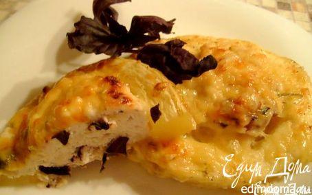 Рецепт Кабачки, фаршированные куриным фаршем и творожным сыром