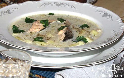 Рецепт Уха из семги со сливками