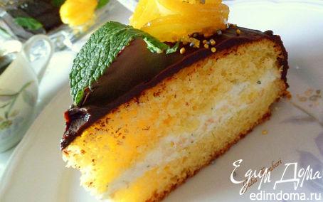 Рецепт Лимонный кекс с мятно-сливочным кремом под шоколадом (для Тори)